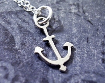 Optional Chain Medium Sterling Silver Burred Finish Anchor Pendant
