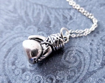 Large Boxing Glove Necklace - Sterling Silver Boxing Glove Charm on a Delicate Sterling Silver Cable Chain or Charm Only