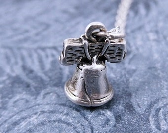 Silver Liberty Bell Necklace - Sterling Silver Liberty Bell Charm on a Delicate Sterling Silver Cable Chain or Charm Only
