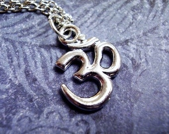 Silver Om Necklace - Silver Pewter Om Charm on a Delicate Silver Plated Cable Chain or Charm Only