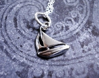 Silver Sailboat Necklace - Sterling Silver Sailboat Charm on a Delicate Sterling Silver Cable Chain or Charm Only