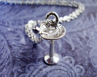 Silver Martini Glass Necklace - Silver Pewter Martini Glass Charm on a Delicate Silver Plated Cable Chain or Charm Only