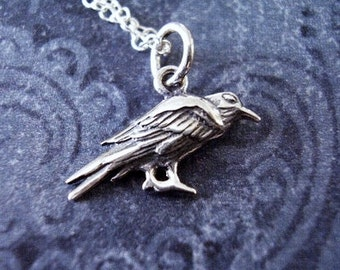 Goth Tiny Raven Long Sterling Silver Necklace Crow Bird