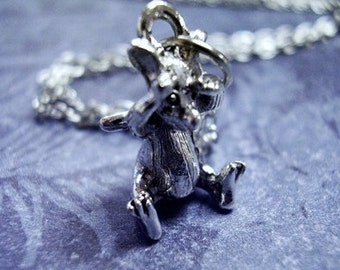 Silver Peek A Boo Mouse Necklace - Silver Pewter Peek A Boo Mouse Charm on a Delicate Silver Plated Cable Chain or Charm Only