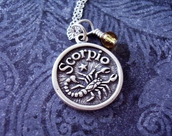 Sterling Silver Scorpio Necklace - Sterling Silver Scorpio Charm on a Delicate Sterling Silver Cable Chain or Charm Only