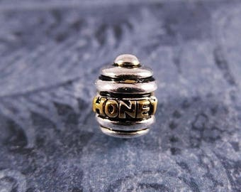 Honey Pot Large Hole Bead - 14kt Gold Plated Sterling Silver Honey Pot Bead - Large Hole Honey Pot Bead