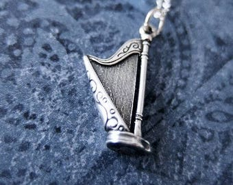 Silver Harp Necklace - Sterling Silver Harp Charm on a Delicate Sterling Silver Cable Chain or Charm Only