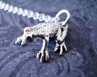 Silver Frog Necklace - Sterling Silver Frog Charm on a Delicate Sterling Silver Cable Chain or Charm Only