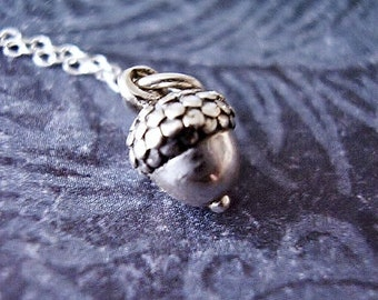 Tiny Silver Acorn Necklace - Sterling Silver Acorn Charm on a Delicate Sterling Silver Cable Chain or Charm Only