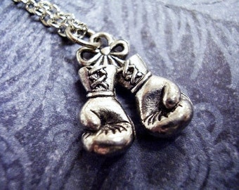 Silver Boxing Gloves Necklace - Antique Pewter Boxing Gloves Charm on a Delicate Silver Plated Cable Chain or Charm Only