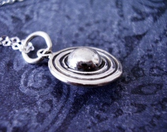Silver Saturn Necklace - Sterling Silver Saturn Charm on a Delicate Sterling Silver Cable Chain or Charm Only