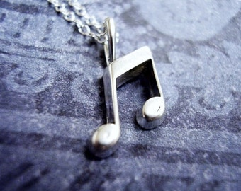 Tiny Music Notes Necklace - Sterling Silver Music Notes Charm on a Delicate Sterling Silver Cable Chain or Charm Only