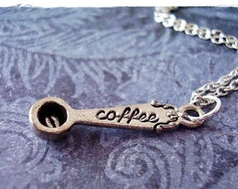 Silver Coffee Scoop Necklace - Antique Pewter Coffee Scoop Charm on a Delicate Silver Plated Cable Chain or Charm Only