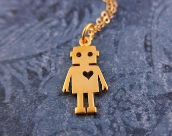 Gold Robot Necklace - Matte 24kt Gold Plate Robot Charm on a Delicate 14kt Gold Filled Cable Chain or Charm Only