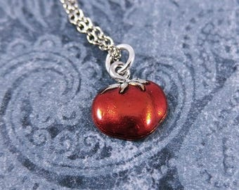 Red Tomato Necklace - Red Enameled Antique Pewter Tomato Charm on a Delicate Silver Plated Cable Chain or Charm Only