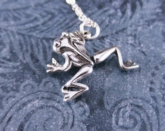 Silver Tree Frog Necklace - Sterling Silver Tree Frog Charm on a Delicate Sterling Silver Cable Chain or Charm Only