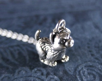 Silver Kitten Necklace - Sterling Silver Kitten Charm on a Delicate Sterling Silver Cable Chain or Charm Only