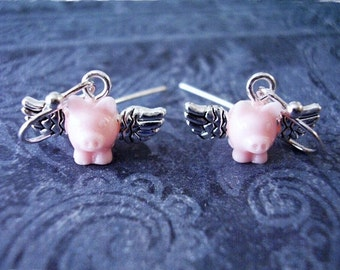 Tiny Pink Flying Pig Earrings - Pink Resin Flying Pig Charms on Silver French Hooks