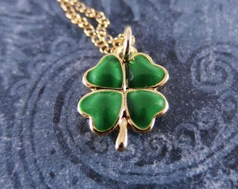 Green Clover Necklace - Green Enameled Gold Pewter Clover Charm on a Delicate 14kt Gold Filled Cable Chain or Charm Only