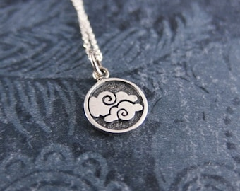 Tiny Air Element Necklace - Sterling Silver Air Element Charm on a Delicate Sterling Silver Cable Chain or Charm Only