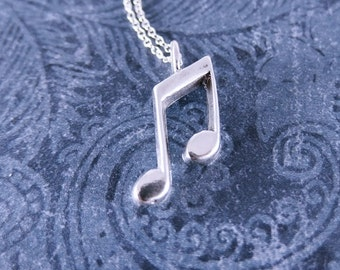 Silver Music Notes Necklace - Sterling Silver Music Notes Charm on a Delicate Sterling Silver Cable Chain or Charm Only