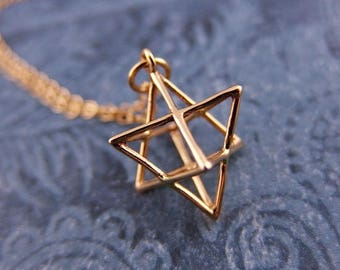 Gold Merkaba Necklace - Bronze Merkaba Charm on a Delicate 14kt Gold Filled Cable Chain or Charm Only