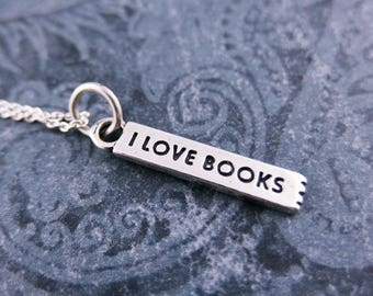 Silver I Love Books Bookmark Necklace - Sterling Silver I Love Books Bookmark Charm on a Delicate Sterling Silver Cable Chain or Locket Only