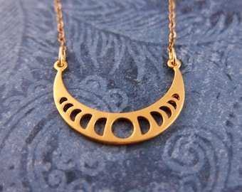 Matte Gold Moon Phases Necklace - Matte 24kt Gold Plate Moon Phases Charm on a Delicate 14kt Gold Filled Cable Chain or Charm Only