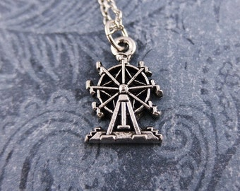 Silver Ferris Wheel Necklace - Antique Pewter Ferris Wheel Charm on a Delicate Silver Plated Cable Chain or Charm Only