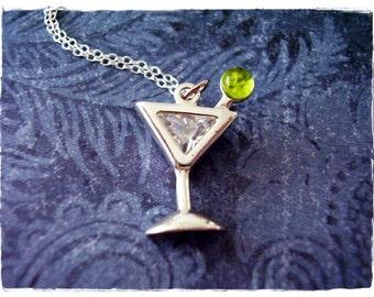 4 Martini cocktail pendants antique silver tone FD32