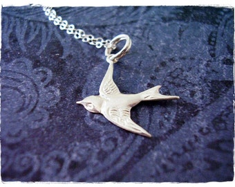 d55c87be7 Silver Sparrow Necklace - Sterling Silver Sparrow Charm on a Delicate  Sterling Silver Cable Chain or Charm Only