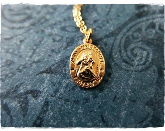 d8982de2a3e Tiny Gold St Christopher Necklace - Tiny Gold Filled St Christopher Charm  on a Delicate 14kt Gold Filled Cable Chain or Charm Only