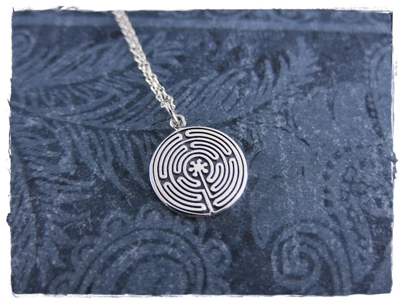 Silver Labyrinth Necklace Sterling Silver Labyrinth Charm on a Delicate Sterling Silver Cable Chain or Charm Only