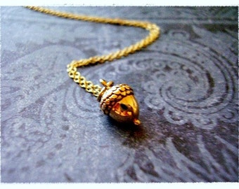 Tiny Gold Acorn Necklace - Bronze Acorn Charm on a Delicate 14kt Gold Filled Cable Chain or Charm Only