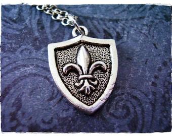 Silver Fleur De Lis Shield Necklace - Antique Pewter Fleur De Lis Shield Charm on a Delicate Silver Plated Cable Chain or Charm Only