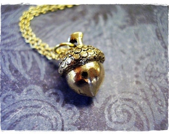 Gold Acorn Necklace - Antique Gold Pewter Acorn Charm on a Delicate Gold Plated Cable Chain or Charm Only