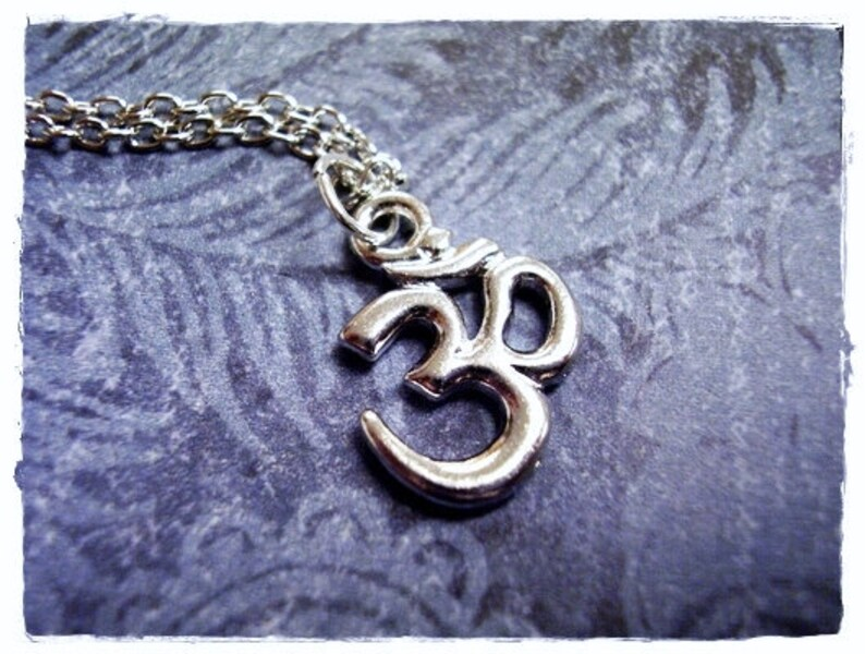 Silver Pewter Crystal Om Charm on a Delicate Silver Plated Cable Chain or Charm Only Silver Crystal Om Necklace