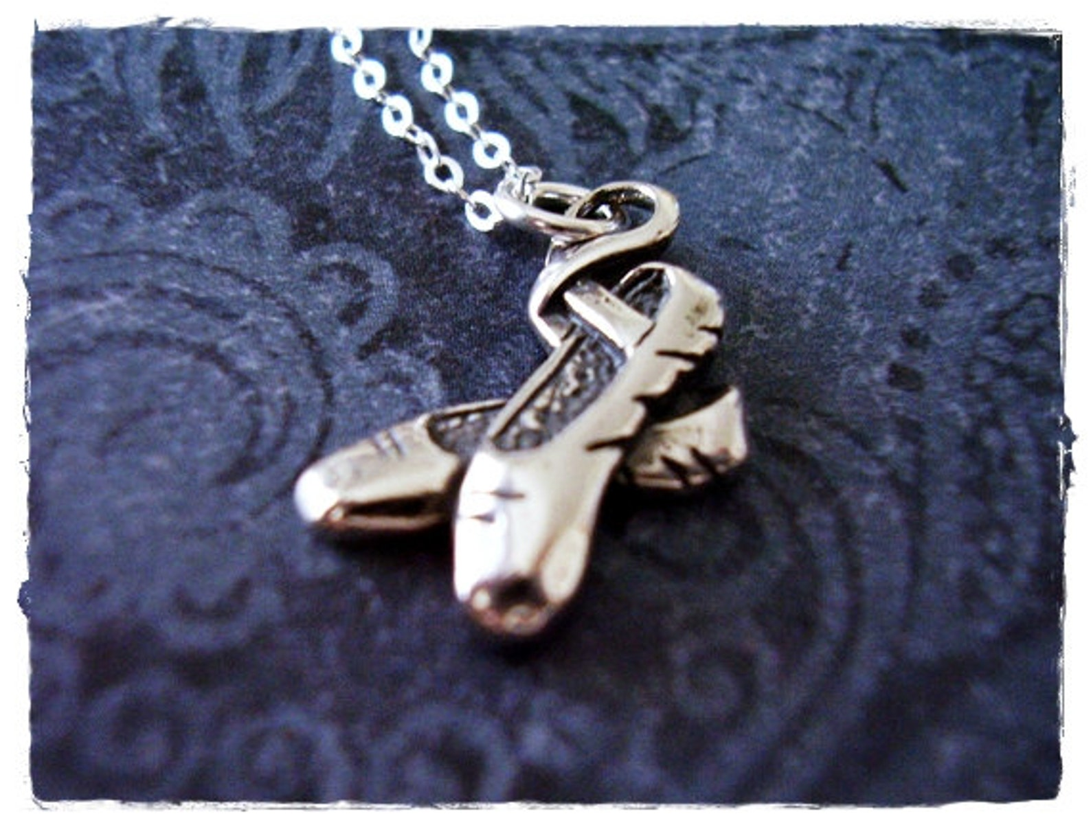 silver ballet shoes necklace - sterling silver ballet shoes charm on a delicate sterling silver cable chain or charm only