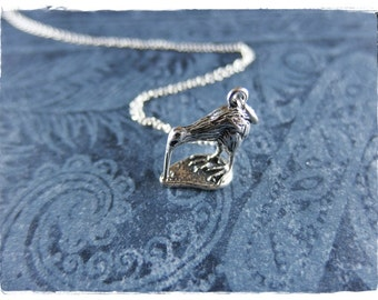 Silver Kiwi Necklace - Sterling Silver Kiwi Charm on a Delicate Sterling Silver Cable Chain or Charm Only