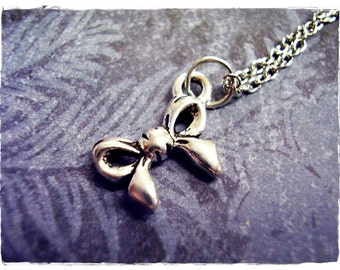 Silver Bow Necklace - Silver Pewter Bow Charm on a Delicate Silver Plated Cable Chain or Charm Only