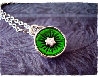 Green Kiwi Necklace - Green Enameled Silver Plated Kiwi Charm on a Delicate Silver Plated Cable Chain or Charm Only