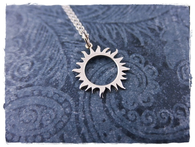 Silver Radiant Sun Necklace Sterling Silver Radiant Sun Charm on a Delicate Sterling Silver Cable Chain or Charm Only