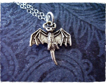 Tiny Vampire Bat Necklace - Sterling Silver Vampire Bat Charm on a Delicate Sterling Silver Cable Chain or Charm Only