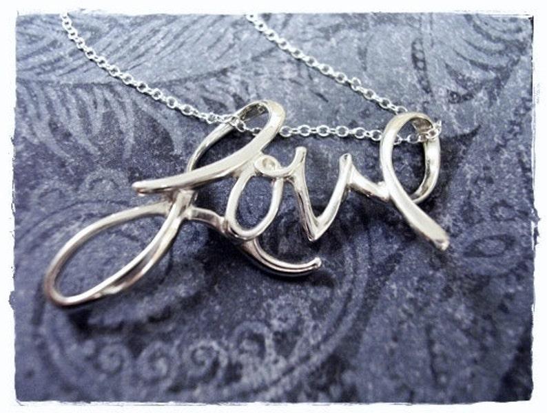 3cebb58ebcc0e LOVE Cursive Script Necklace - Sterling Silver Cursive Love Charm on a  Delicate Sterling Silver Cable Chain or Charm Only