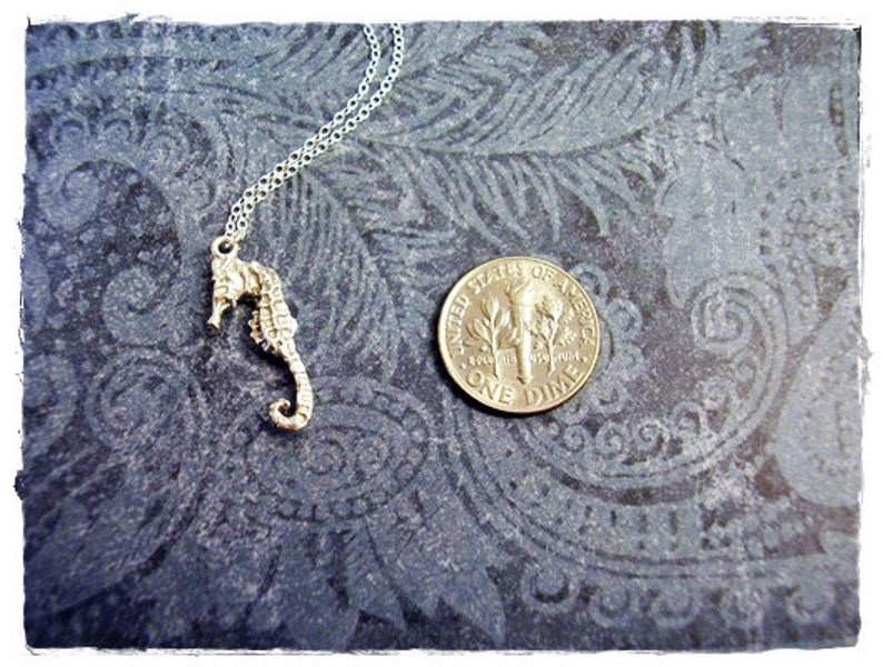 Sterling Silver Seahorse Charm on a Delicate Sterling Silver Cable Chain or Charm Only Tiny Seahorse Necklace