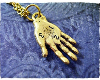 Gold Palm Reading Hand Necklace - Antique Gold Pewter Palm Reading Hand Charm on a Delicate Gold Plated Cable Chain or Charm Only