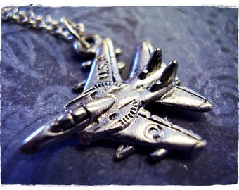 Silver Fighter Jet Necklace - Antique Pewter Fighter Jet Charm on a Delicate Silver Plated Cable Chain or Charm Only