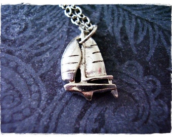 Silver Sloop Sailboat Necklace - Silver Pewter Sailboat Charm on a Delicate Silver Plated Cable Chain or Charm Only
