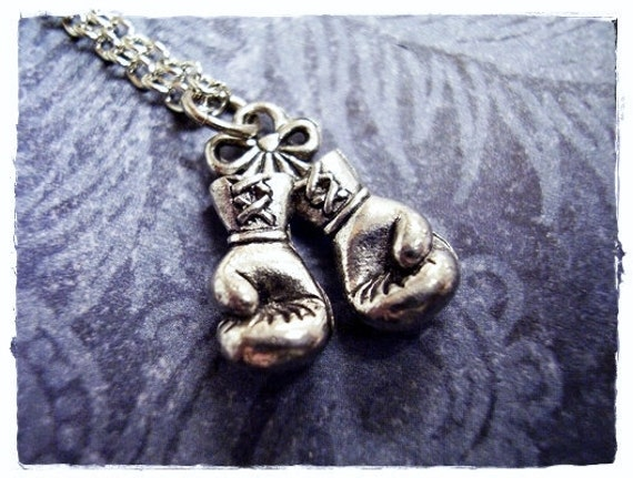 """Boxing Glove Pendant Necklace 18/"""" or 24 Inch Chain Boxer Charm Gift"""