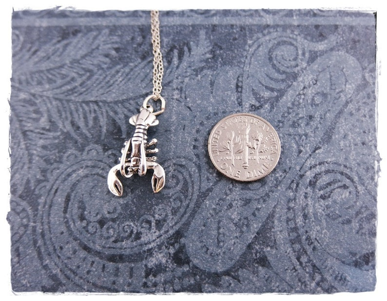 Silver Movable Lobster Necklace Sterling Silver Movable Lobster Charm on a Delicate Sterling Silver Cable Chain or Charm Only